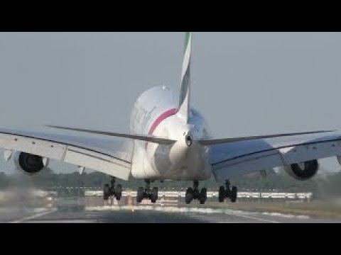 Airbus A380 soft landing at London Gatwick Airport Emirates Airline
