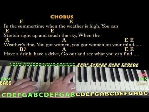 In the Summertime (Mungo Jerry) Piano Lesson Chord Chart with On-Screen Lyrics