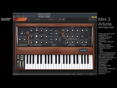 Mini 3 Arturia Synth VST Instrument Full Presets/Sounds Test Emulation