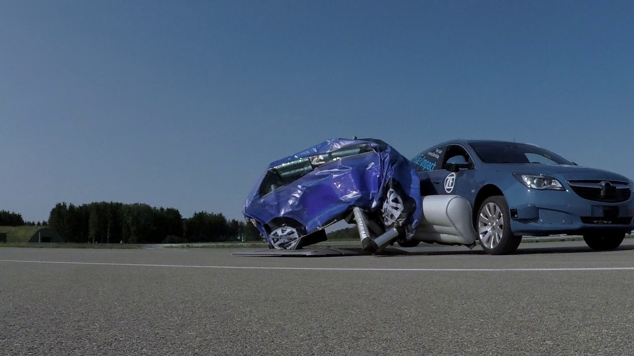 ZF reveals World's first pre-crash external side airbag system - YouTube