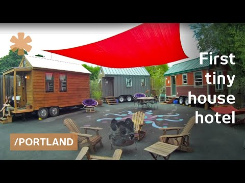 Americas 1st tiny house hotel had to be in dense Portland YouTube