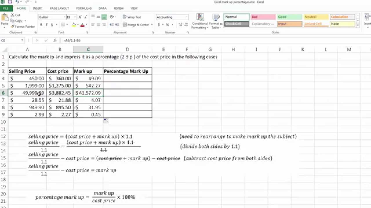 calculating percentage mark up using excel youtube