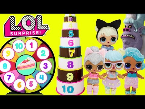 LOL Surprise Dolls GIANT Cake Toy Surprises Spinning Wheel Game