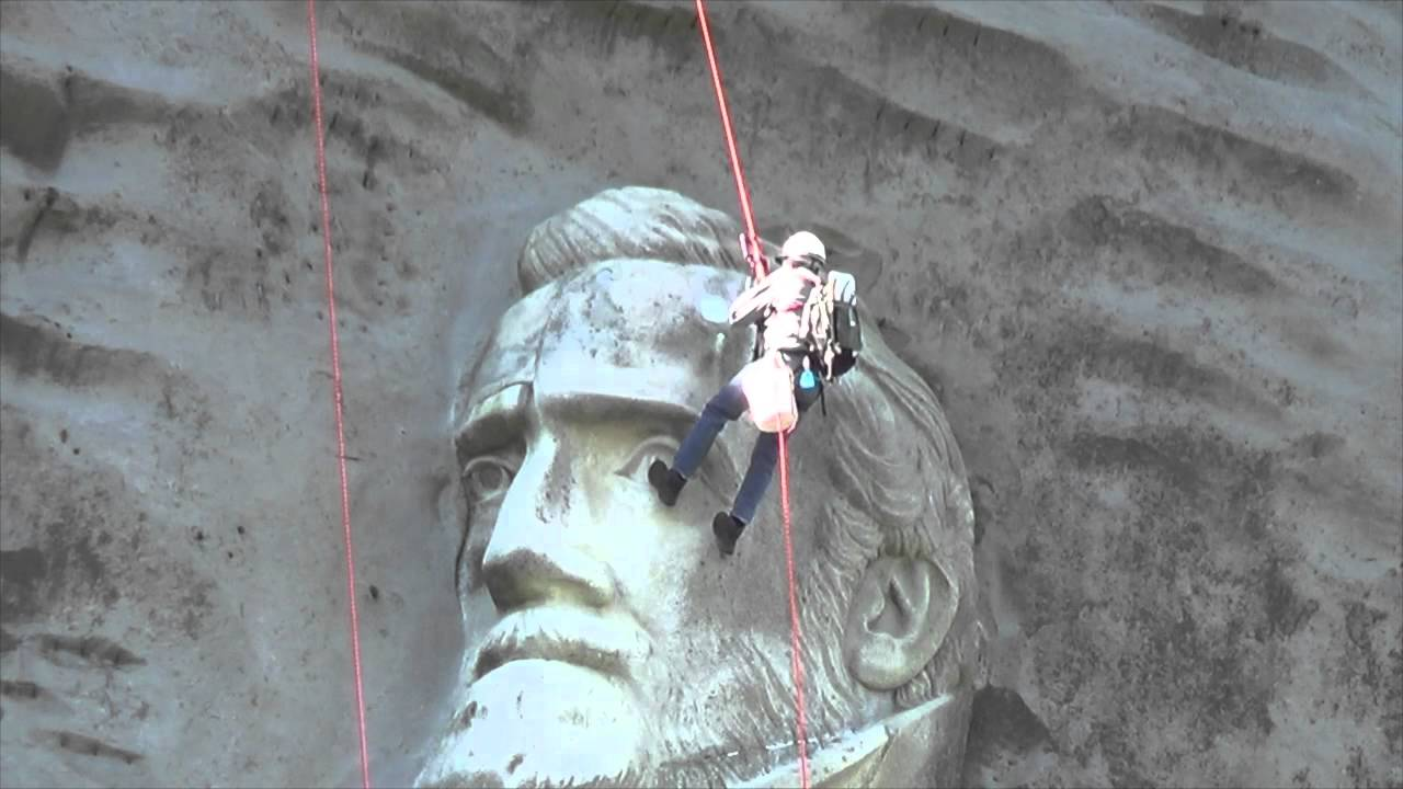 Stone mountain men cleaning and repairing carving youtube