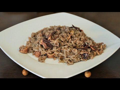 Легко, ПРЕМИУМ рецепт. Чёрный рассыпчатый рис с кальмарами. Испанская кухня.