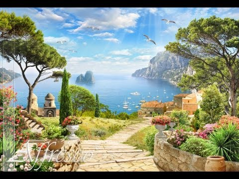 Painting walls with acrylic paints master class. How to paint italian landscape on a wall. Rybakow