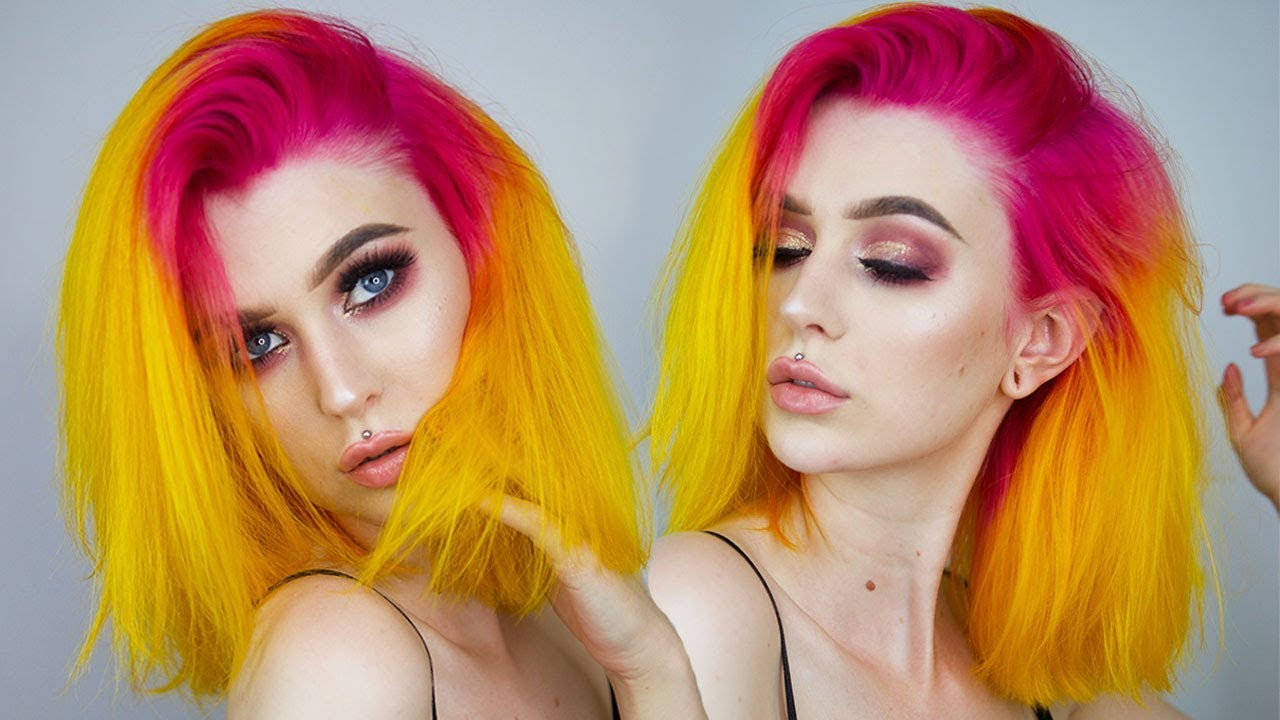 dying hair pink yellow