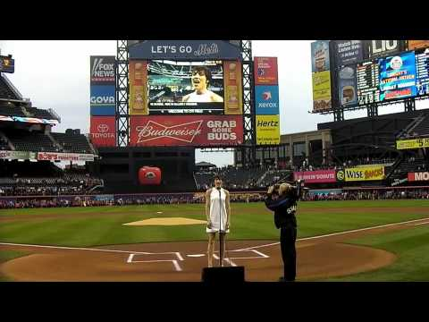 Lindsay Roginski - The National Anthem - Mets Game At Citi Field 5.14.12