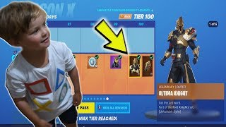4 Year Old Kid *UNLOCKING* ALL 100 FORTNITE TIERS WITH FREE V-BUCKS!!