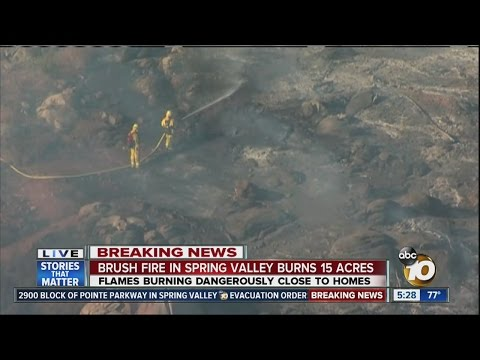Brush fire in Spring Valley threatening homes; evacuations in place