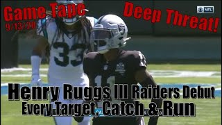 Henry Ruggs III Raiders Debut - Every Target, Catch & Run Against the Panthers 9/13/20
