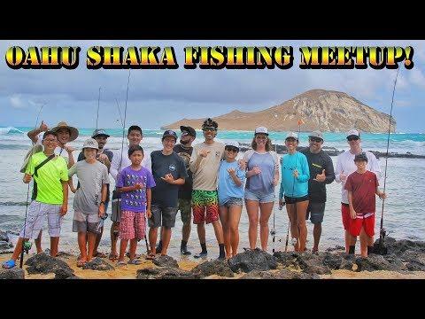 Oahu Fishing Community Meetup - Shore Fishing Waimanalo Hawaii with Subscribers + Friends - BODS 44