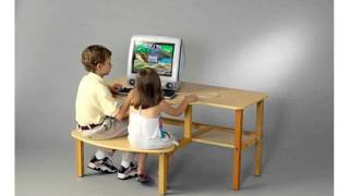 Wild Zoo Furniture Childs Wooden Computer Desk For 1 To 2 Kids, Ages 2 To 5, Maple/green (home)
