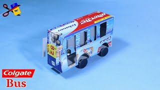 How To Make A Bus From Colgate Box | Best Out Of Waste Colgate Box Craft Idea | Using Colgate Box