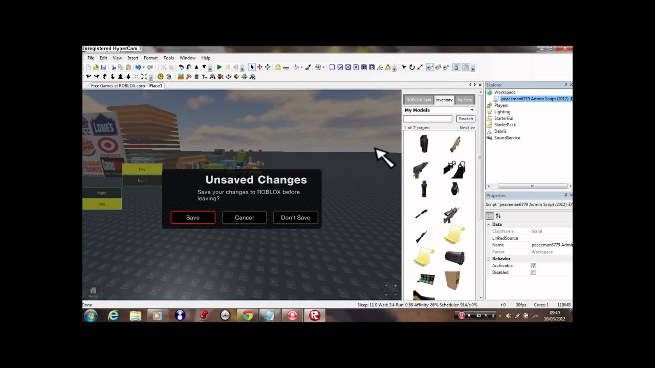 How to get Admin Script On roblox 2012 - YouTube
