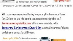 Temporary Car Insurance Cover For 1 Day For All The People