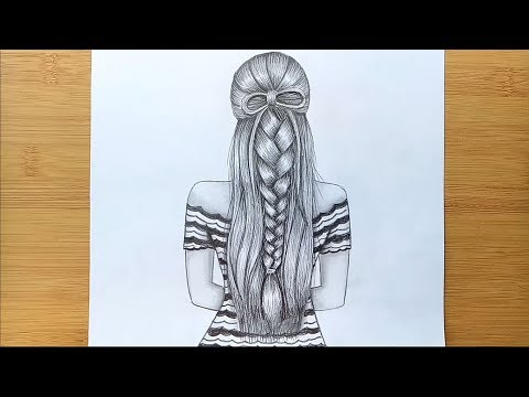 how-to-draw-a-girl-with-beautiful-hairstyle-|-back-said-drawing---step-by-step
