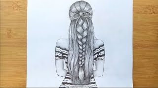 How to draw a girl with beautiful hairstyle | back said Drawing  - Step by Step