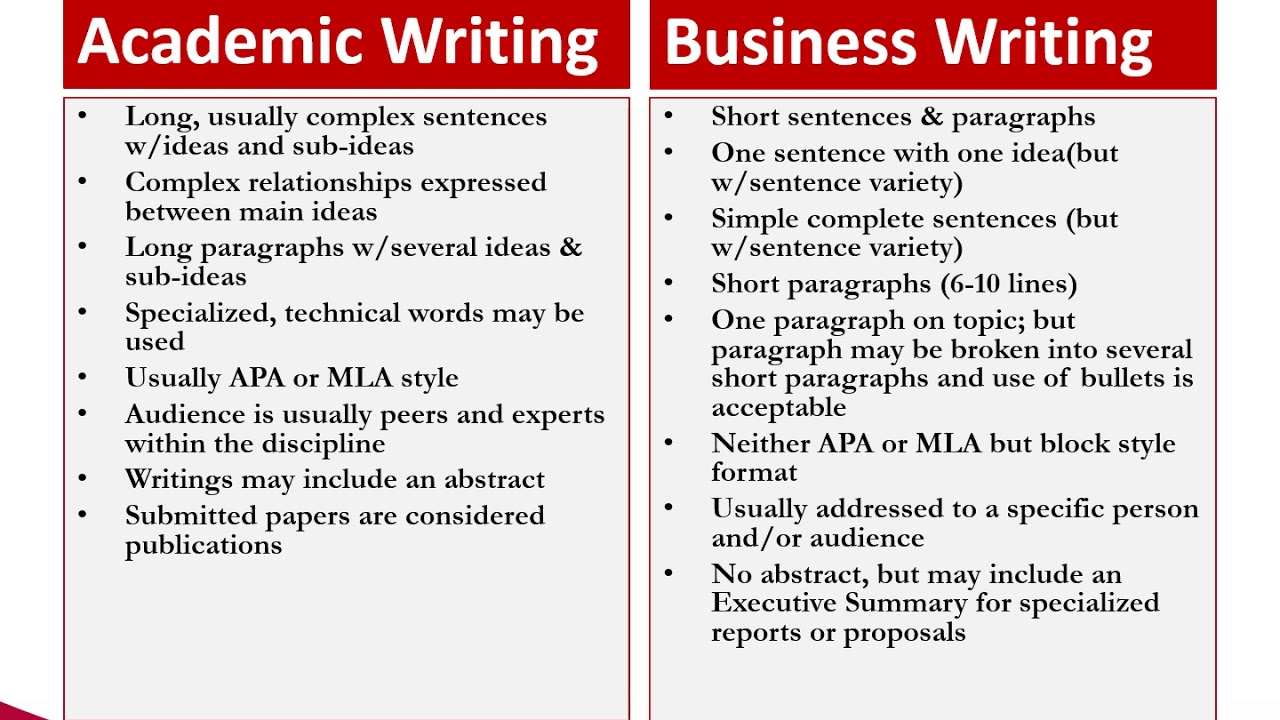 How Does Business Writing Differ From Academic Writing