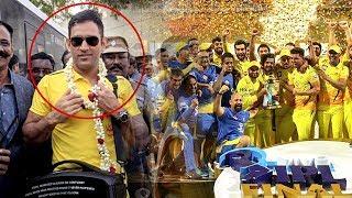 Thala Dhoni & Chennai Super Kings Team Mass Entry@Chennai Airport   Bravo   Suresh Raina