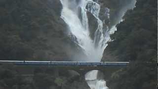 Indian Railways : Amaravathi express Passing Dudhsagar falls- Taken from View point