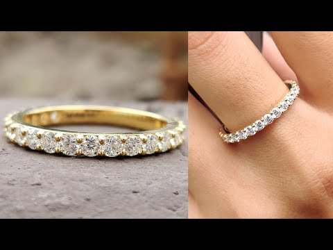 1.01-tcw-round-colorless-moissanite-half-eternity-wedding-band-|-engagement-band-|-anniversary-gift