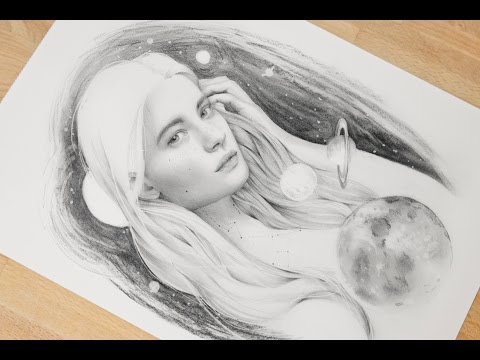 Timelapse drawing. Planet girl. Charcoal and graphite on paper.