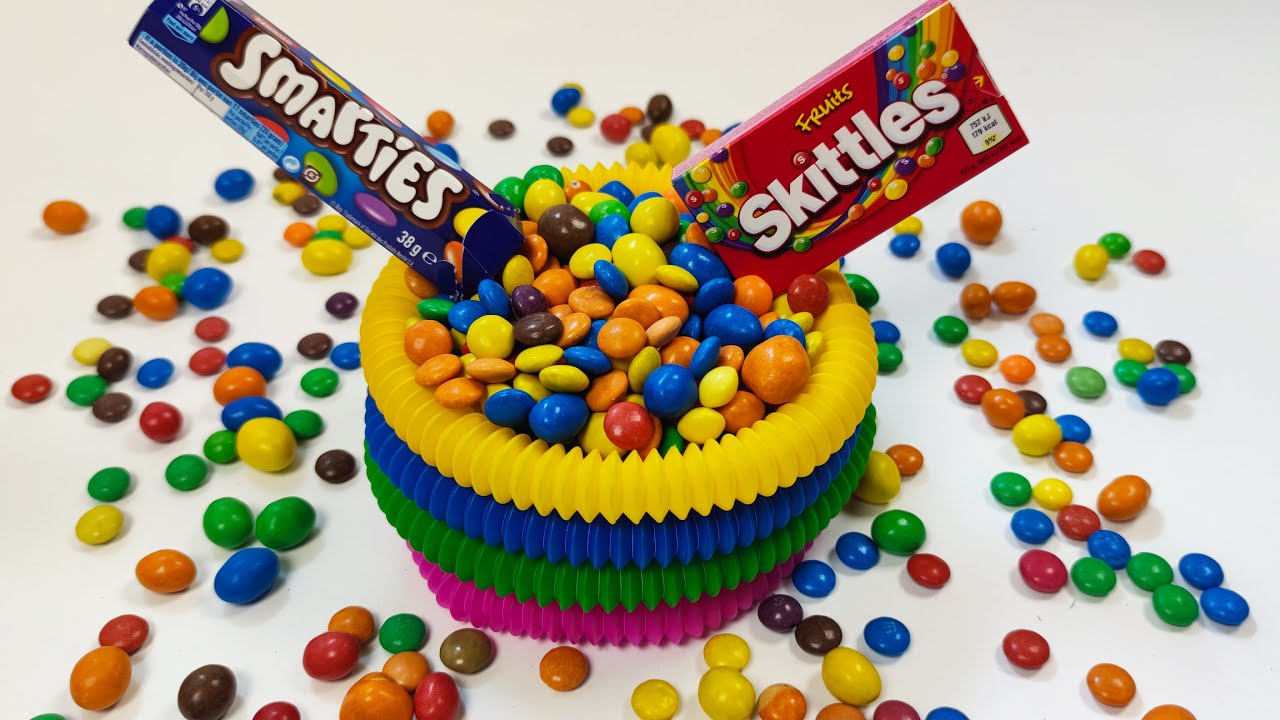 Download Satisfying Video I Mixing Candy MMS Skittles in Pop Tubes Cutting ASMR