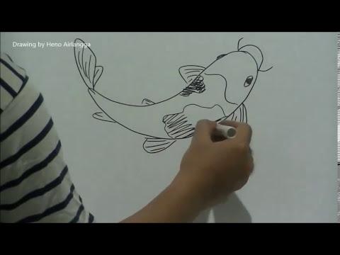 Belajar mudah menggambar ikan koi - YouTube