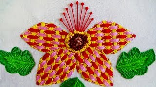 Bordado à mão: flor de fantasia / ponto de xadrez