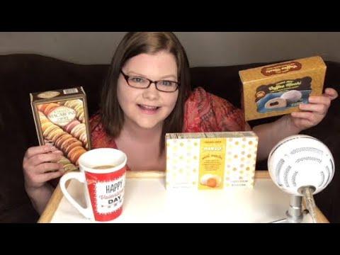 Trader Joe's Dessert Mukbang! Macarons and Mochi!