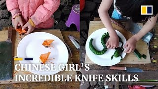 Chinese girl's incredible knife skills in the face of adversity