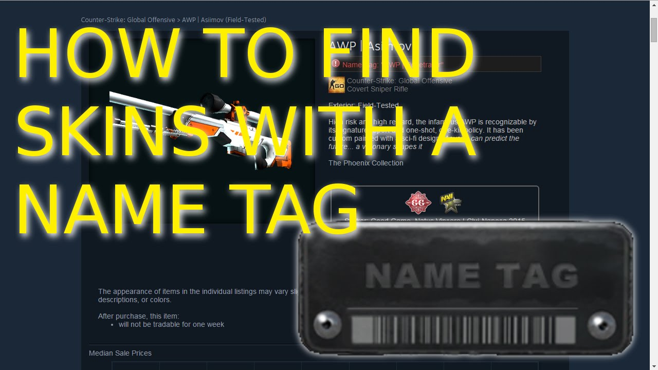 How to find CS:GO skins with a Name Tag on the Steam Market