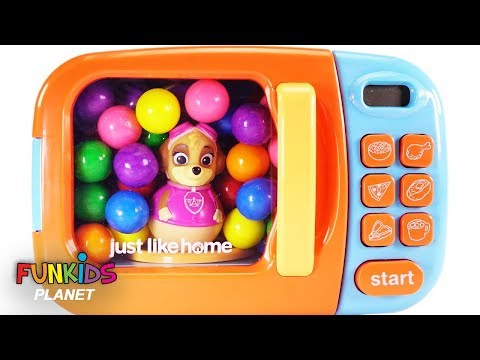 Thumbnail: Learn Colors with Paw Patrol Weeble Gumballs & Magical Toy Microwave Kitchen Appliance