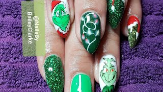 Client Corner- Handpainted  Naughty and Nice Grinch nail art tutorial