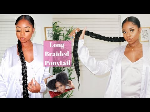 sleek-long-braided-ponytail-on-4b/c-natural-hair-|-$5-protective-style