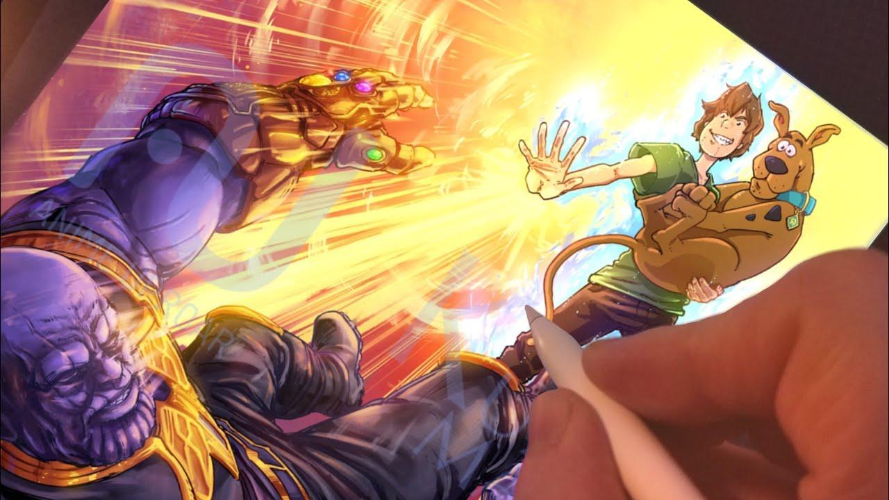 Drawing Ultra Instinct SHAGGY Vs THANOS Avengers!! Anime