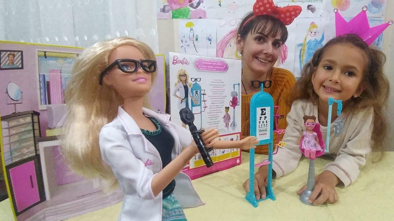 Barbie göz doktoru oyuncak kutusu açtık, eğlenceli çocuk videosu, toys unboxing