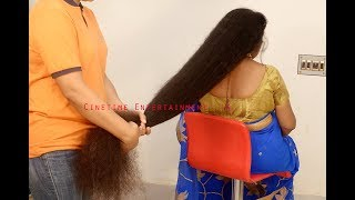 Woman Long Hair Play   Below Knee Length Dense Hair