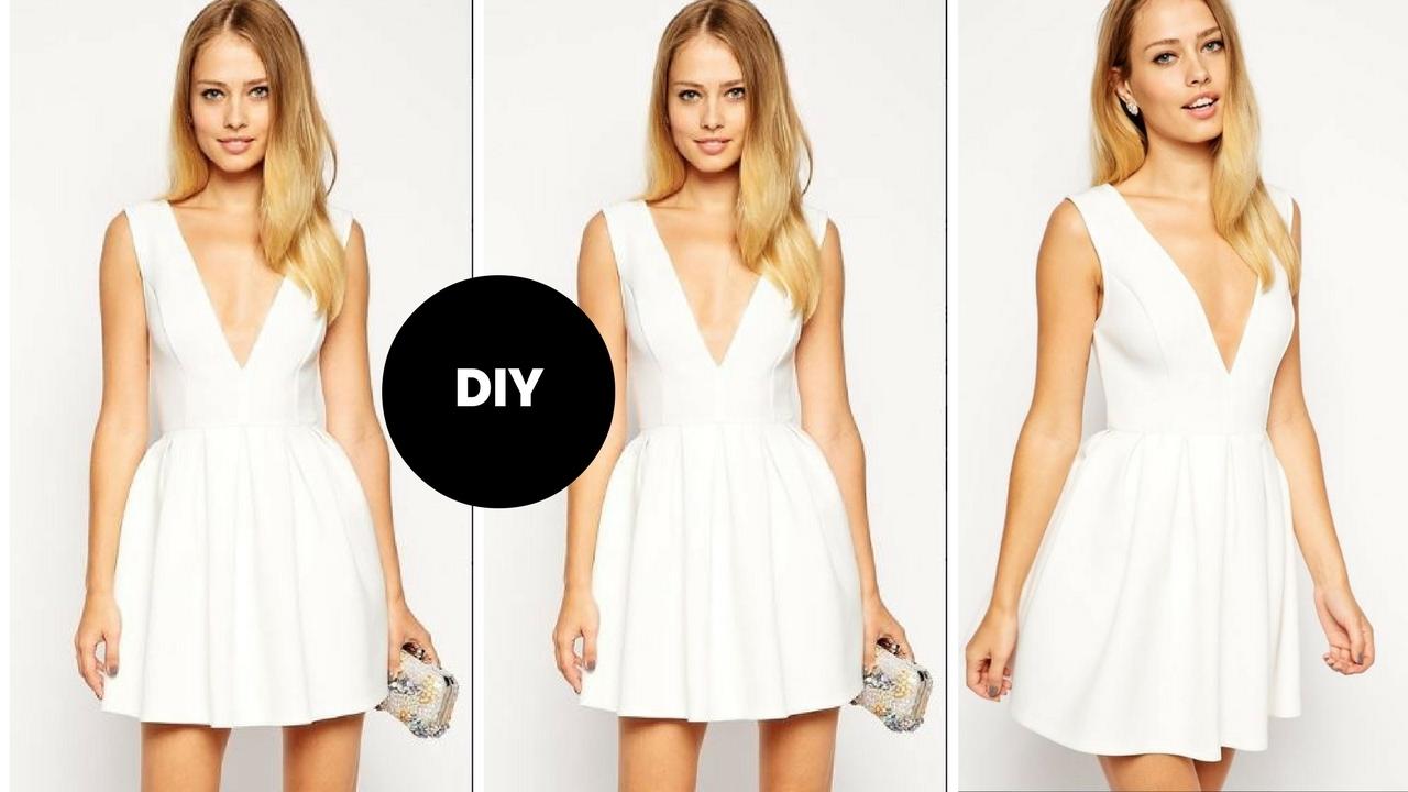 f53bb1bca DIY I How To Make A Skater Dress With Plunge Neckline I Beginner Sewing I  Ovoke