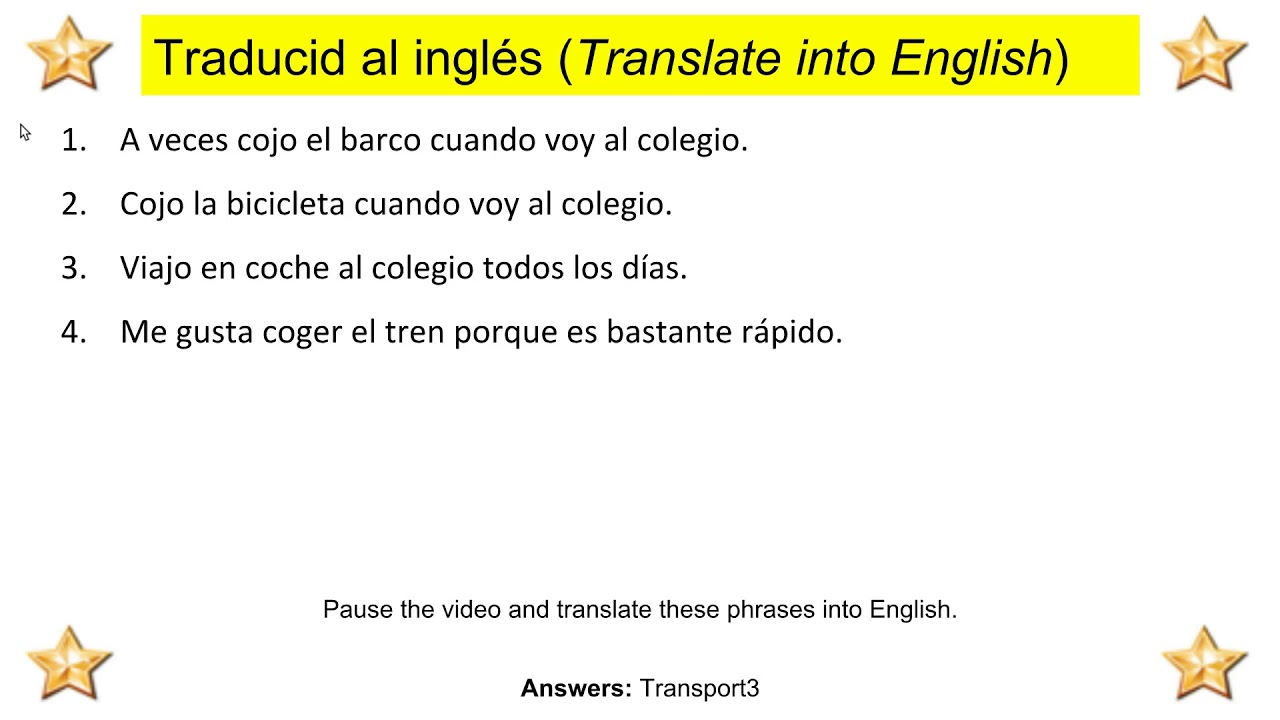 Transport - Spanish to English Translation Exercise