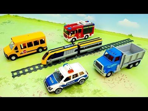 Fire Truck Train Dump Truck Police cars - video for children - fire truck train police toys