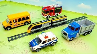 Fire Truck Train Dump Truck Police cars - video for children - fire truck train police toys