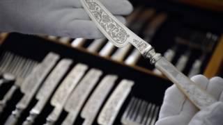 純銀製(925)1876年 手彫り 白蝶貝ハンドル フィッシュカトラリーセット