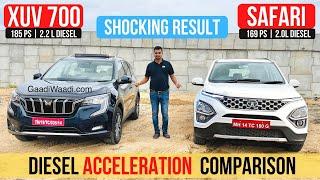 Mahindra XUV700 Vs Tata Safari - Diesel MT Acceleration Test Comparison