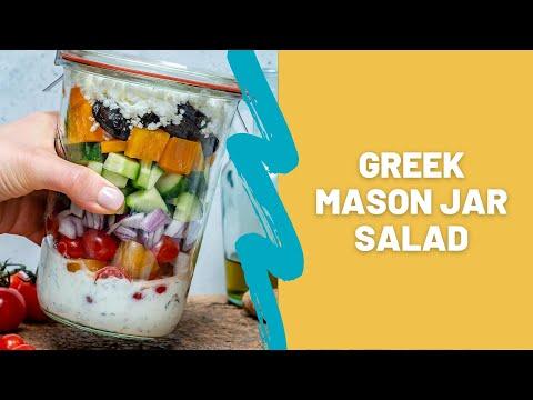Greek Mason Jar Salad How To Make Greek Salad In A Jar Blondelish