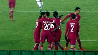 Almoez Ali scores his second goal against Palestine