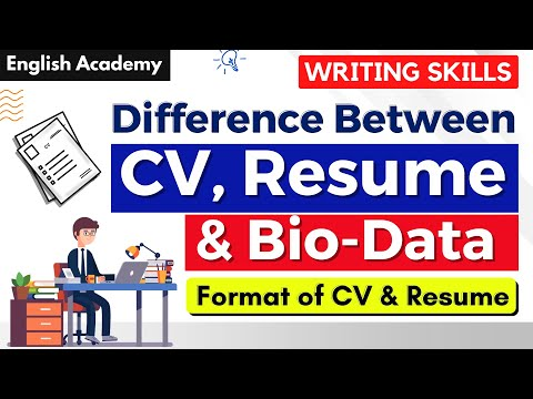 Difference between CV and Resume, CV, Resume and Biodata ...