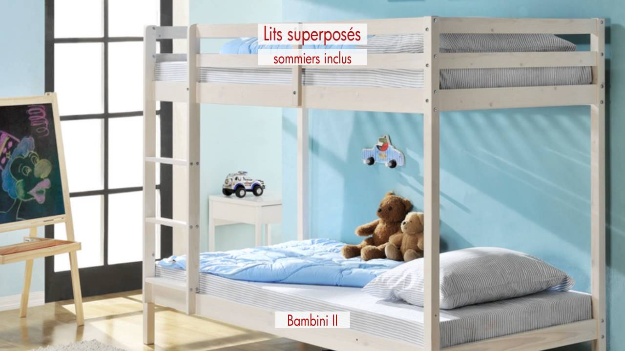 lits superposes en bois youtube. Black Bedroom Furniture Sets. Home Design Ideas