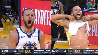 Steph Curry goes crazy after hits a dagger three😄 GSW vs Grizzlies
